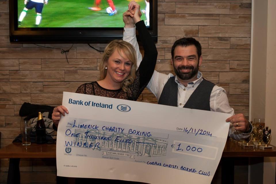 Natalie winning Limerick Charity Boxing